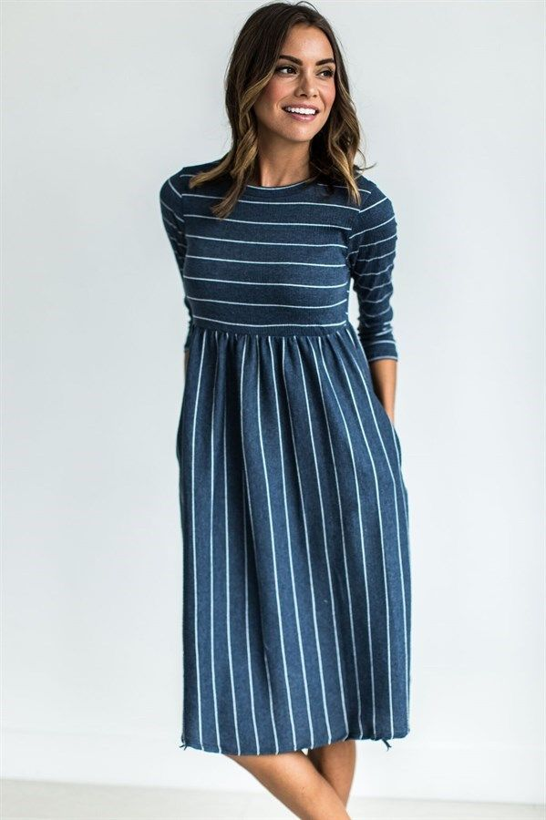 eec921a5d05d This Chambray Striped Midi Dress will be your go to dress this season!  Featuring 3 4 sleeves