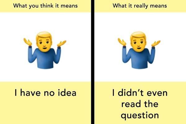 What Those Emojis Really Mean Shrug Emoji Emoji This Or That Questions