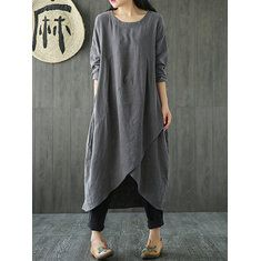 [US$22.99 23 OFF] Vintage Women Long Sleeve Plate Buckles Pocket Hooded Maxi Dress Dresses from Women\'s Clothing on banggood.com Gallery