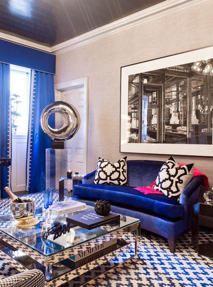 cobalt sofa, grey p jeffries wallcovering; I would tone ...