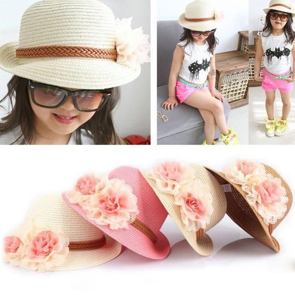 Item Type: Sun Hats Brand Name: Lanshifei Material: Straw Pattern Type: Floral Style: Casual Department Name: Children Gender: Girls children summer visor beach hat: children summer visor beach hat Fa