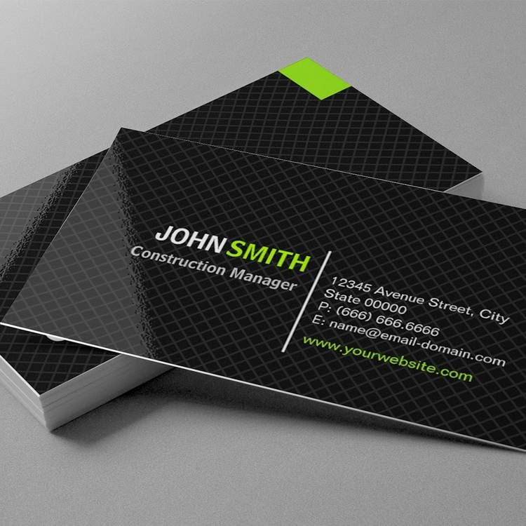 Construction Manager - Modern Twill Grid Business Card | disign ...