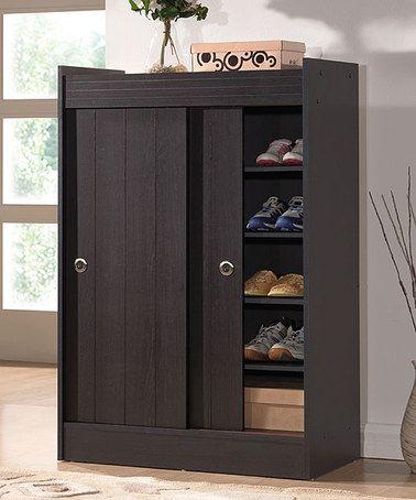 Dark Brown Sliding Door Roland Shoe Rack Cabinet By Baxton Studio Zulilyfinds