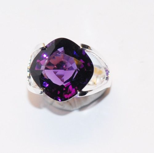 Amethyst stone and silver ring