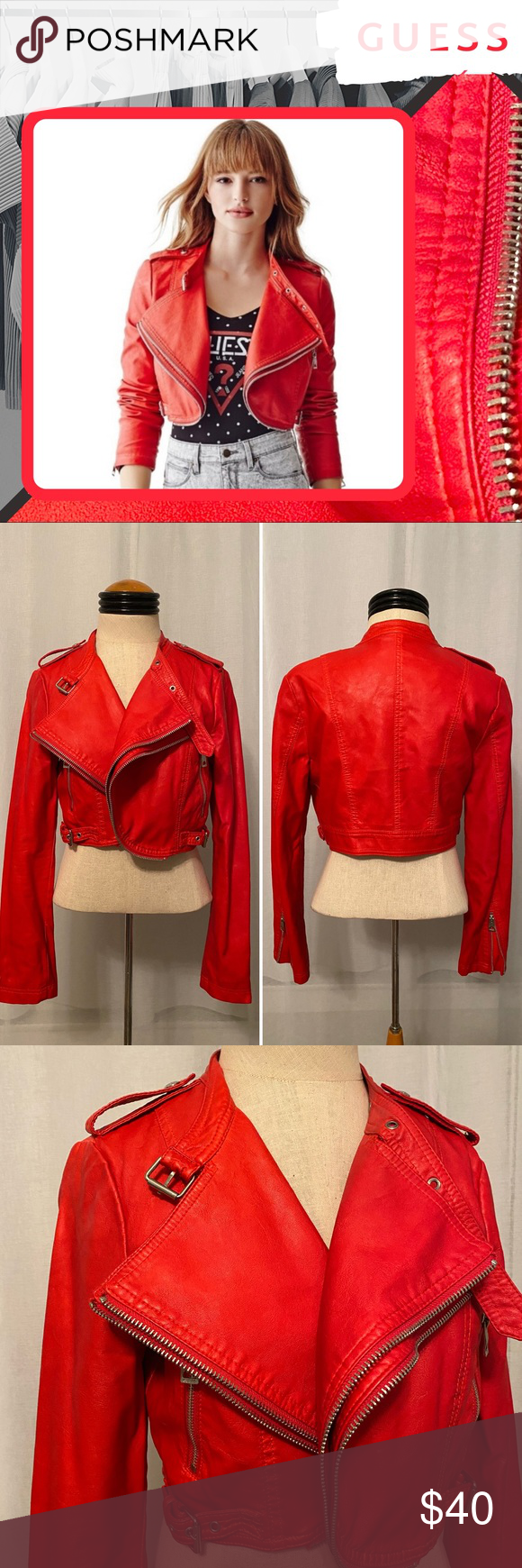 Guess Red Faux Leather Cropped Biker Jacket Sz M Cropped Biker Jacket Jackets Clothes Design [ 1740 x 580 Pixel ]