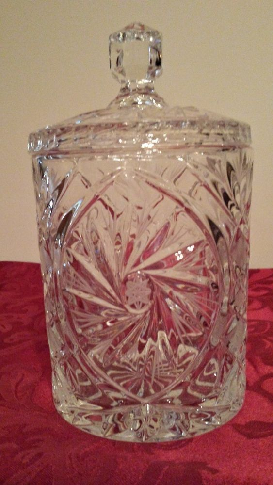 Collectible Hand Cut Crystal Biscuit Jar With Lid