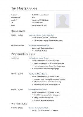 Lebenslauf Muster Vorlage 2 Psychologe 1 Lebenslauf Lebenslauf Muster Vorlagen Lebenslauf