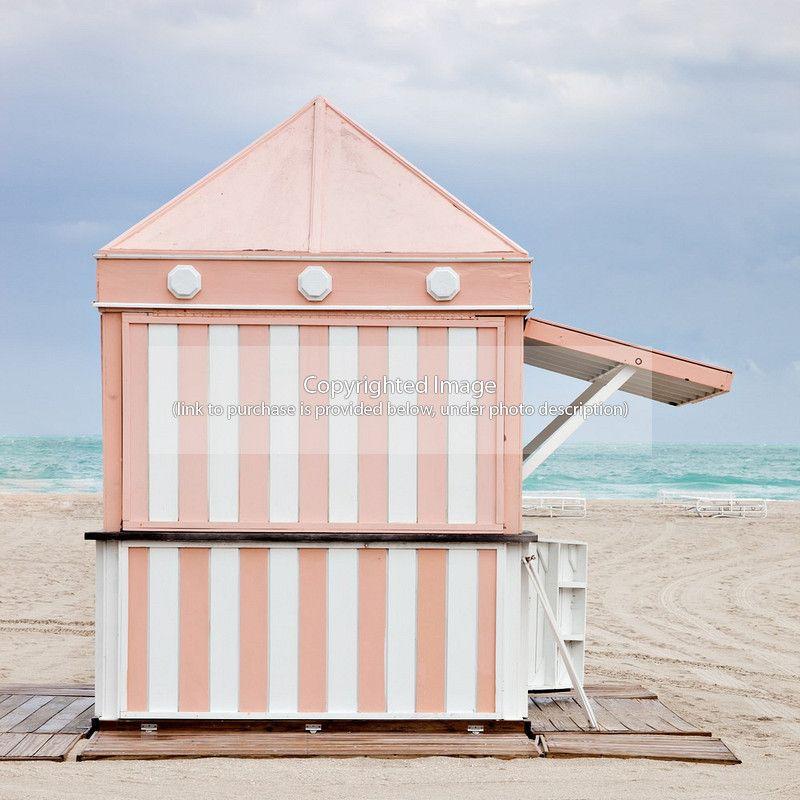 peachy striped beach hut