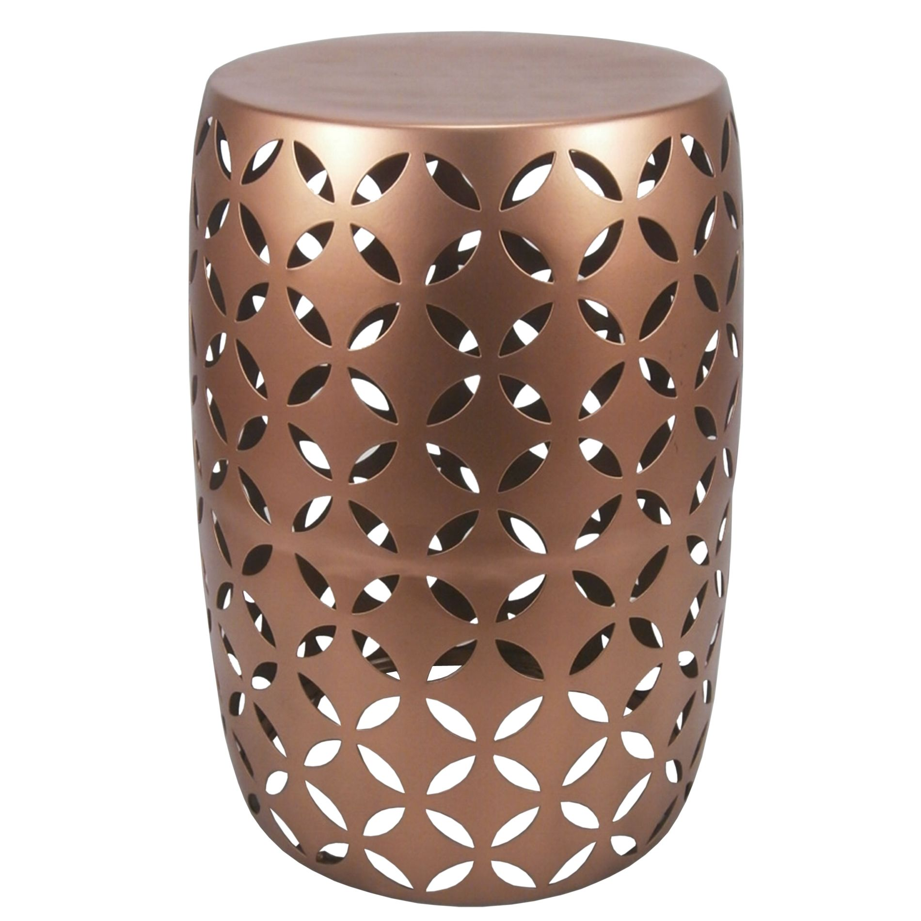 Made From Polished Metal With An Eye Catching Cutout Pattern Throughout This Drum Shaped Accent Table Takes Little