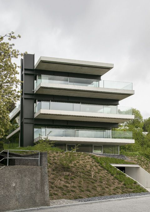 Christian kerez house with a missing column zurich for Modern house zurich