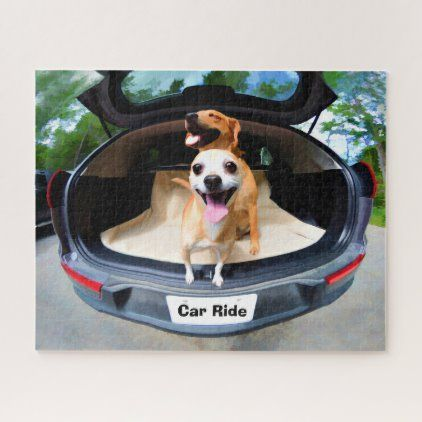 Cute Funny Dogs Going For Car Ride Jigsaw Puzzle   Zazzle.com
