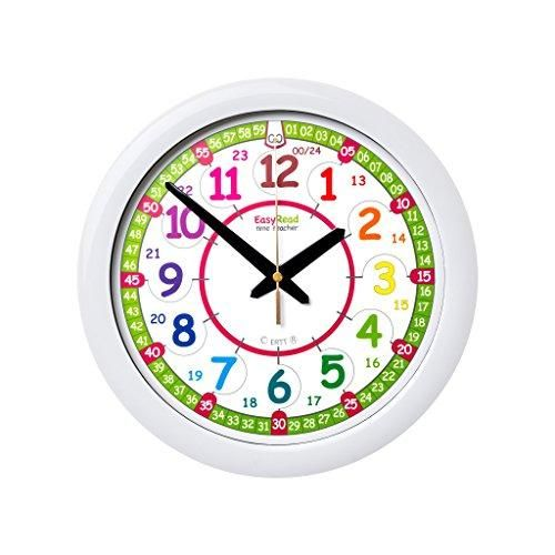 Easyread Time Teacher Children S Wall Clock 12 24 Hour With Silent Movement Learn To Tell The Time In 2 Si Childrens Wall Clock Telling Time Clock For Kids