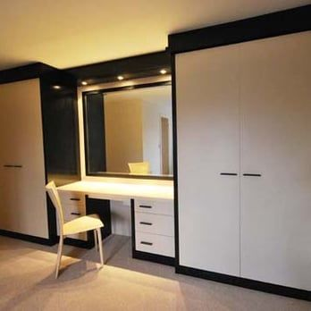 White high gloss fitted wardrobes with dressing table for Bedroom wardrobe designs with dressing table