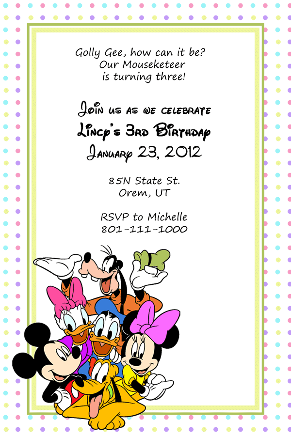 Birthday Invitation Template for Mickey Mouse and Friends Fans http ...