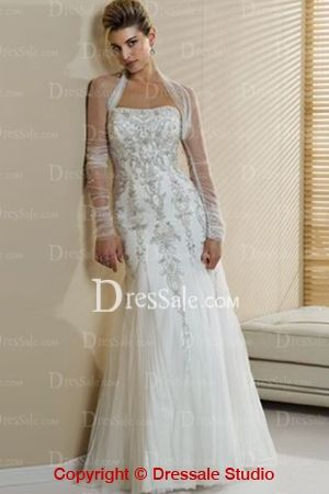 Cute Sheath Bridal Dress with Detachable Tulle Long Sleeve and Pretty Embroidery Detail