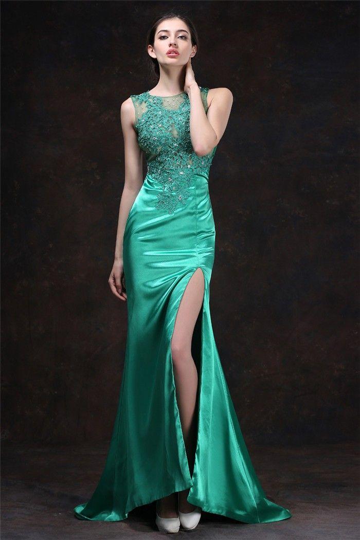 67e61ca255 Sexy Mermaid High Slit Jade Green Silk Satin Tulle Lace Beaded Prom Dress