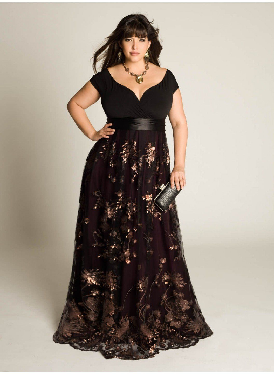 Beautiful neckline and shape for curvy figure Lakshmi Beaded Gown ...