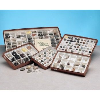 Authentic Specimens Packaged for Educational Display & Study    The Rock & Mineral Specimen Set contains 36 rocks from igneous, sedimentary and metamorphic groups and 64 minerals, including samples of elements, sulfides, halides, oxides-hydroxides, sulfates, tungstates, silicates, carbonates, phosphates, sorosilicates, cyclosilicates, inosilicates, phyllosilicates, tectosilicates, feldspar group and scapolite group.    Specimens are mounted on cardboard display tray. Includes 15 page study…