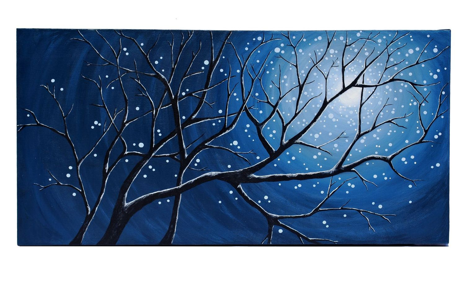 Original Modern Landscape Painting of Moonlit Branches- 15x30 Gallery Canvas by Little Sparrow Gallery. $130.00, via Etsy.