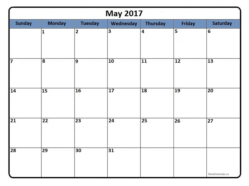 May 2017 printable calendar Printable calendars Pinterest - sample activity calendar template