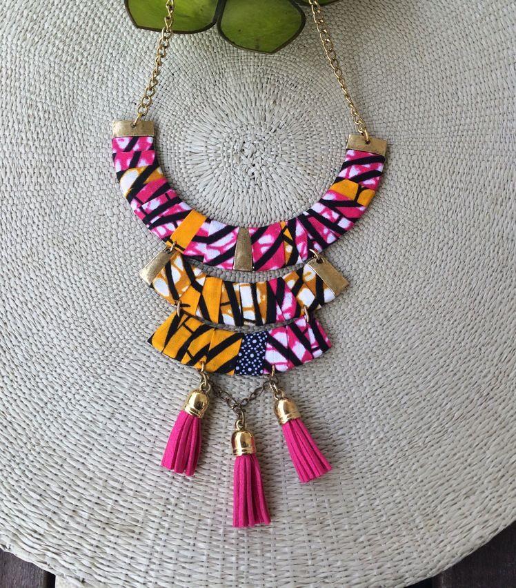 Frange Textile Collier Tissu Bijoux Ethnique Tribal Statement Collar Collier