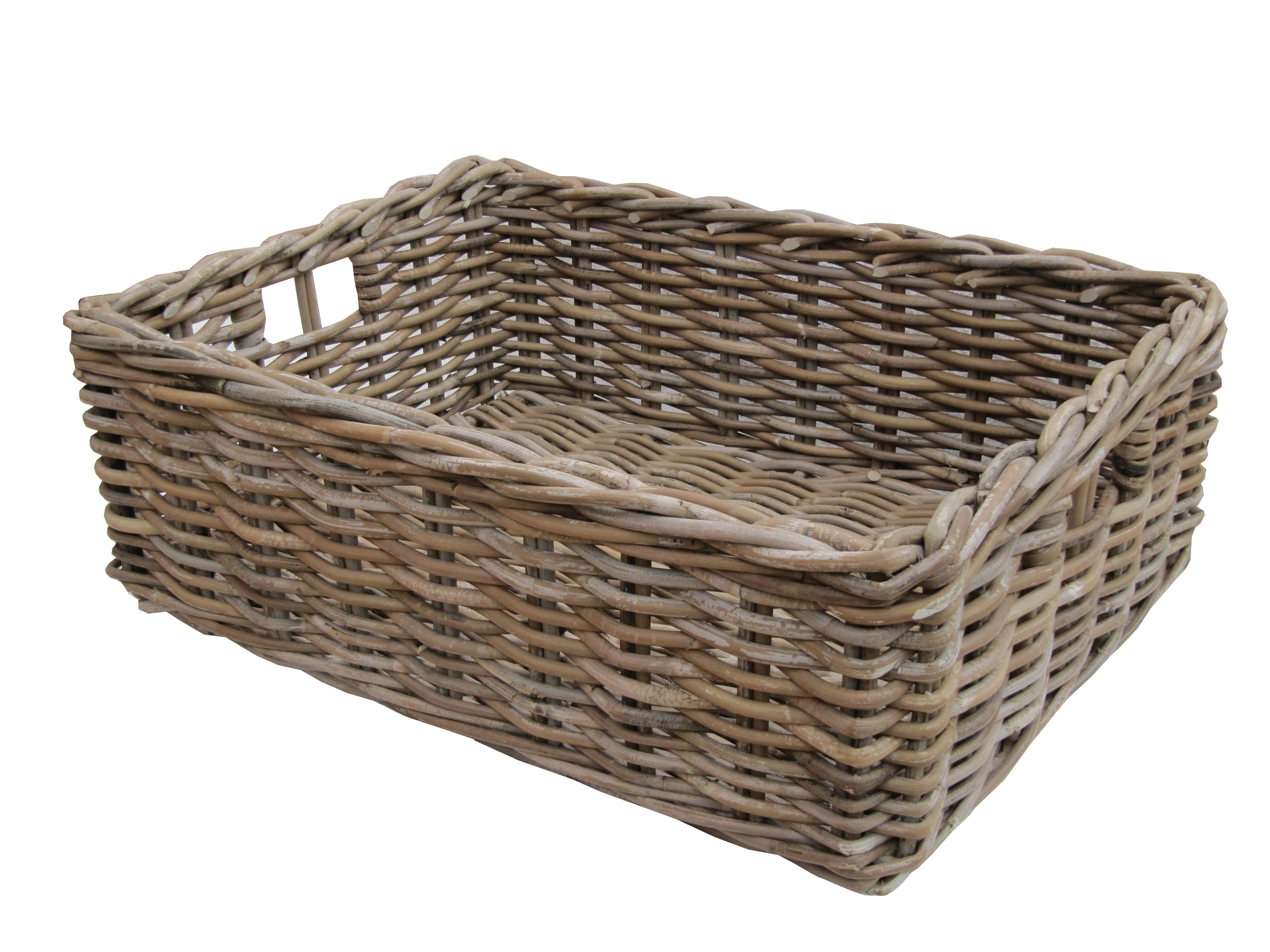 These Rectangular Grey & Buff Rattan Storage Baskets / Empty Hamper Baskets are useful for all