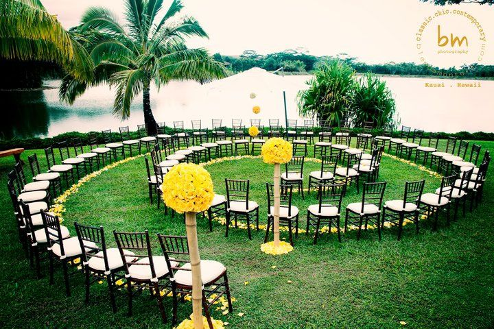 What a creative idea for an outdoor wedding! Each guest has a front row seat to the bride's walk down the aisle.