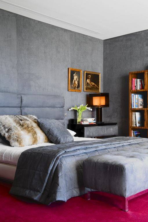 Lorenzo Castillo Soft Bluish Gray Bedroom With Bold Pink Carpet For Contrast Legs Of Ottoman Seem To Match Reflection