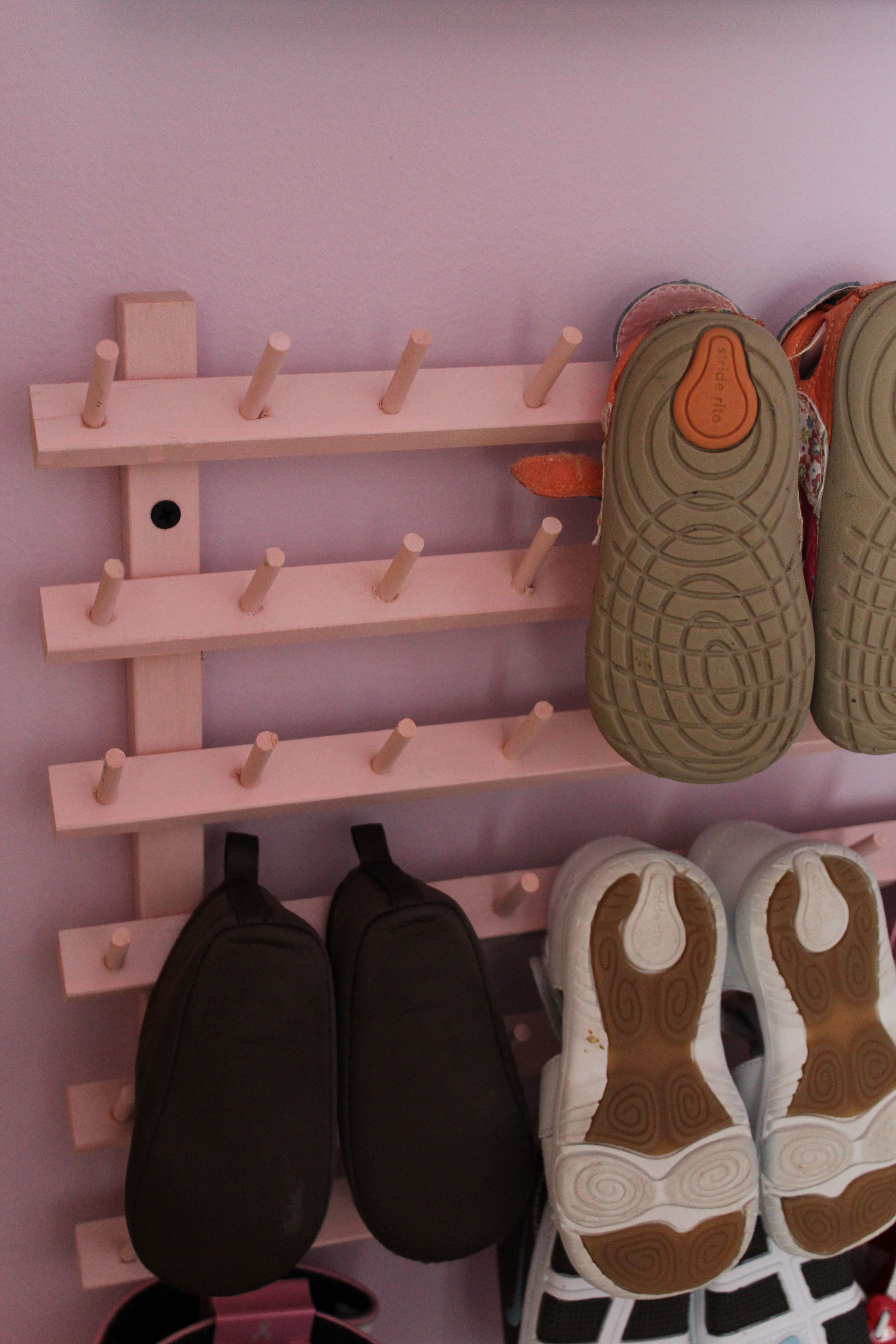 Create easy baby shoe storage with a thread holder from Walmart for