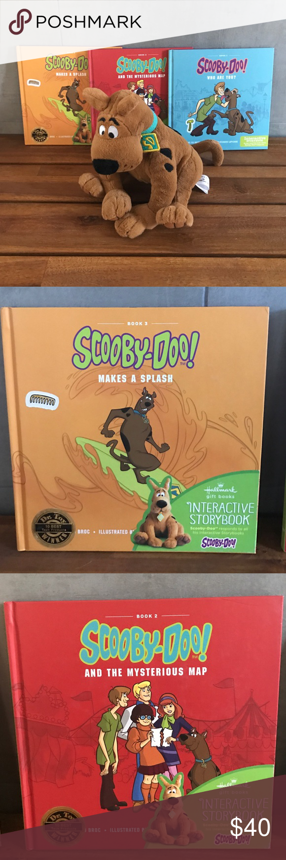 Scooby Doo Interactive Story Books As you read Scooby-Doo responds // 3 books (book 2 has small crayon mark on inside cover) Scooby-Doo Accessories