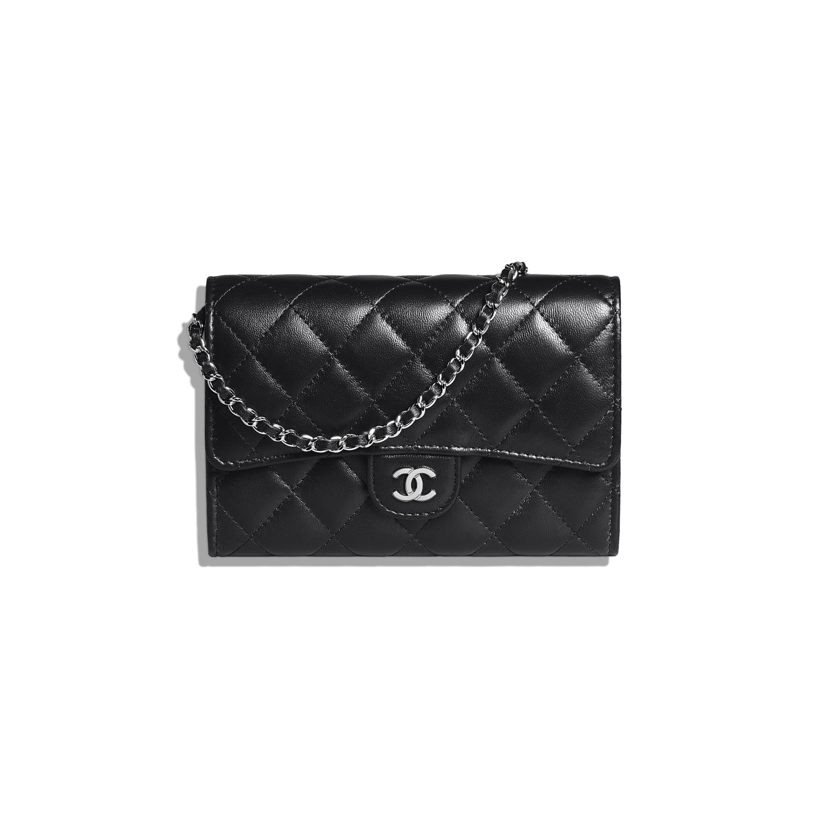 737bfc572242 Lambskin & Silver-Tone Metal Black Classic Clutch with Chain in 2019 ...