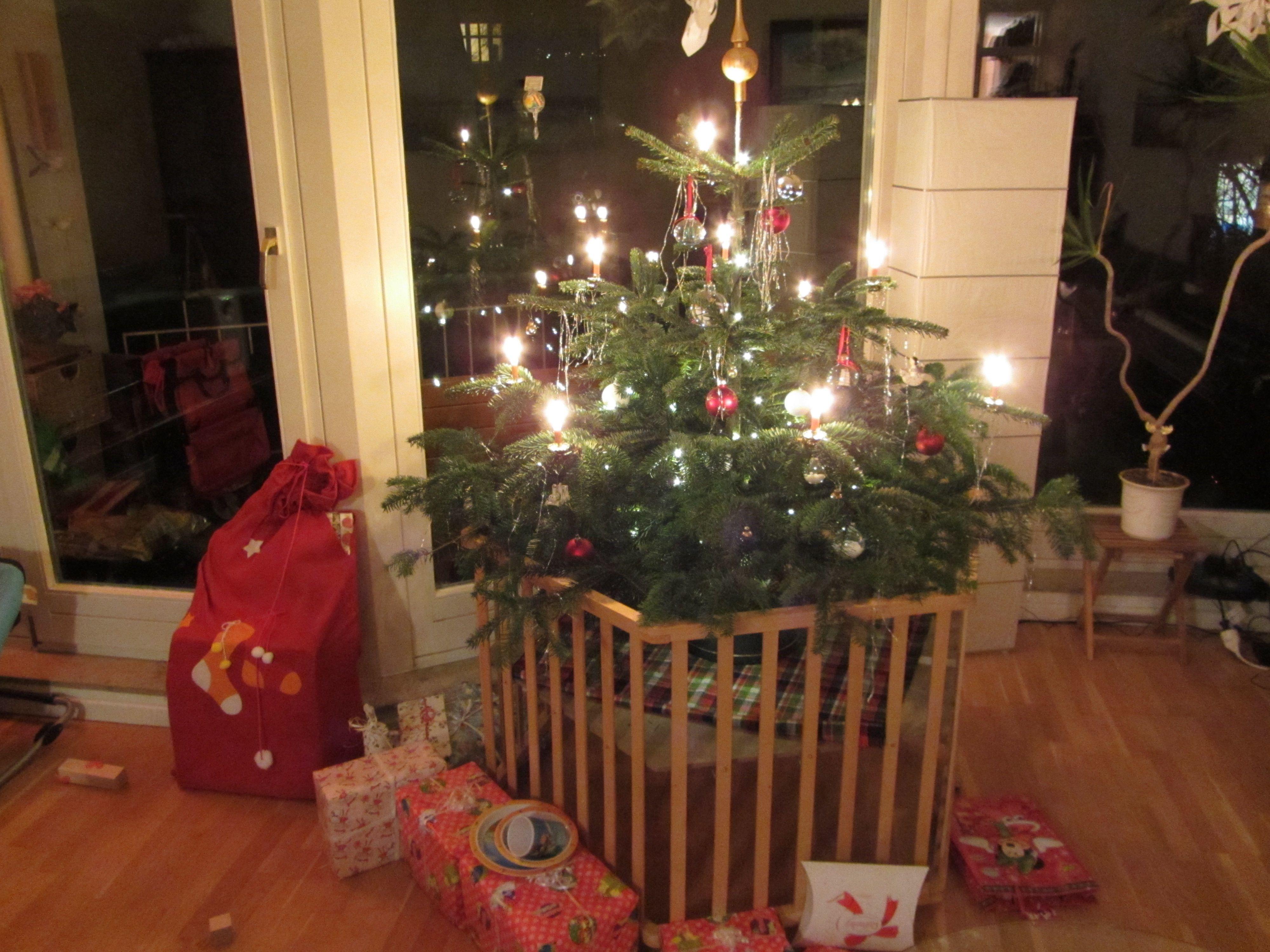 Weihnachtsbaum Mit Echten Kerzen Vor Kindern / Haustieren Sichern: Im  Laufstall   Christmas Tree In