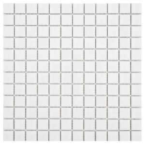 Merola Tile Boreal Square White 11 3 4 In X 11 3 4 In X 6 Mm Porcelain Mosaic Tile Fyfb1swh The Home Depot Mosaic Flooring Porcelain Mosaic Mosaic Tiles