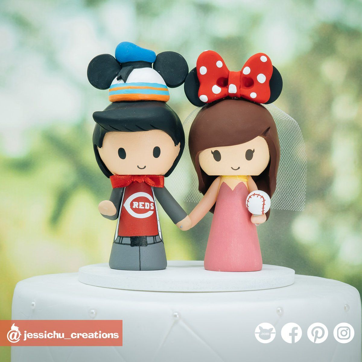 Pin On Disney Inspired Wedding Cake Topper By Jessichu Creations