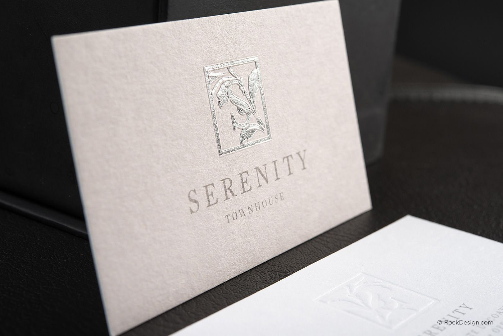 Classic foil stamped with emboss business card - Serenity ...