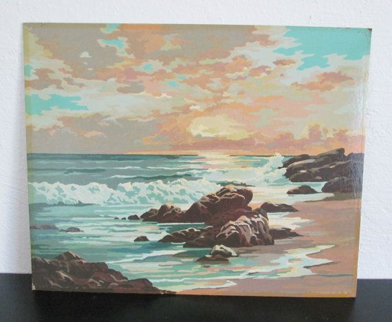 California Coastline Golden Coast 44cc By Craft House Vintage Paint By Number Pbn Unframed Painting 35 00 Vintage Painting Painting Art Painting