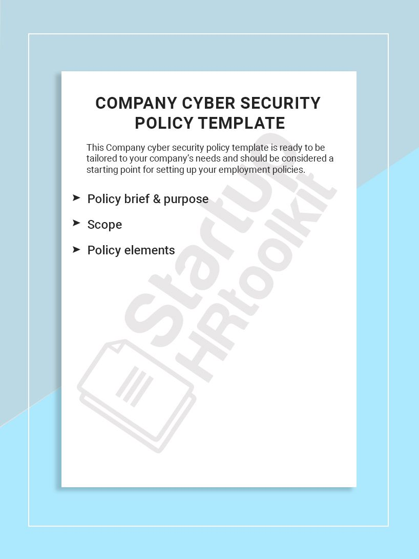This Company Cyber Security Policy Template Is Ready To Be