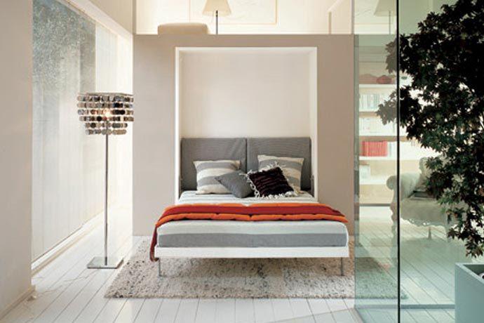 Mueble cama abatible vertical de matrimonio en color blanco ...