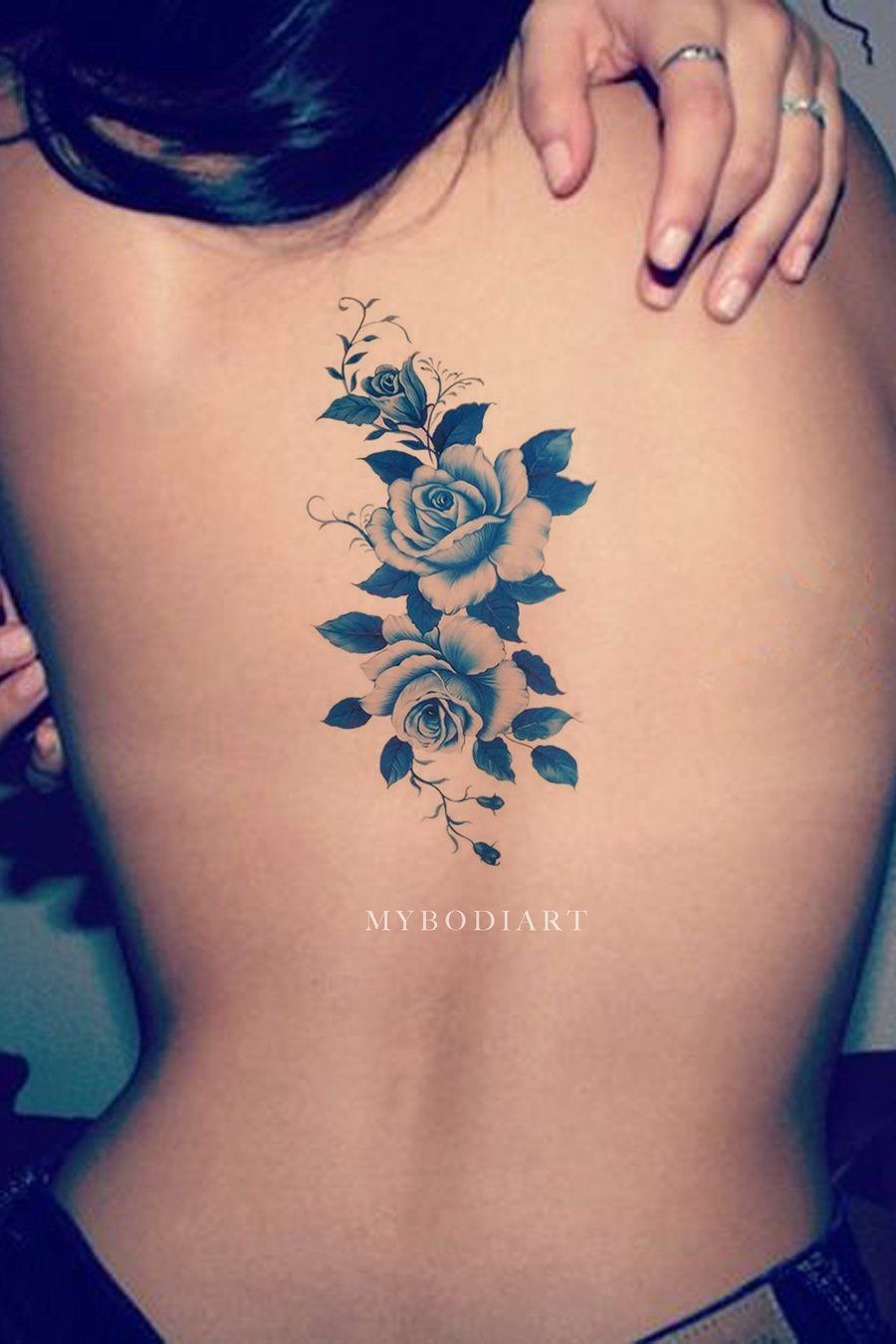 6 Sheets Wrist Body Art Henna Tattoo Stencil Flower: Elizabeth Blue Flower Temporary Tattoo