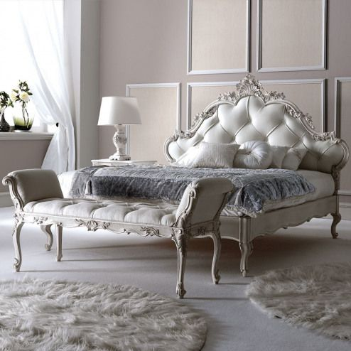 Italian Carved Rococo Button Upholstered Bed #furnituredesigns