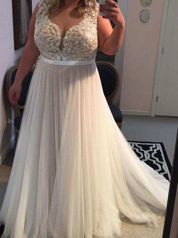 2018 Plus Size Ivory Prom Dress Tulle Cheap Long Prom Dress #VB2152 ...