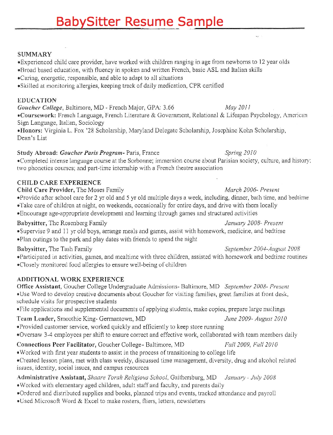 Sample Of BabySitter Resume