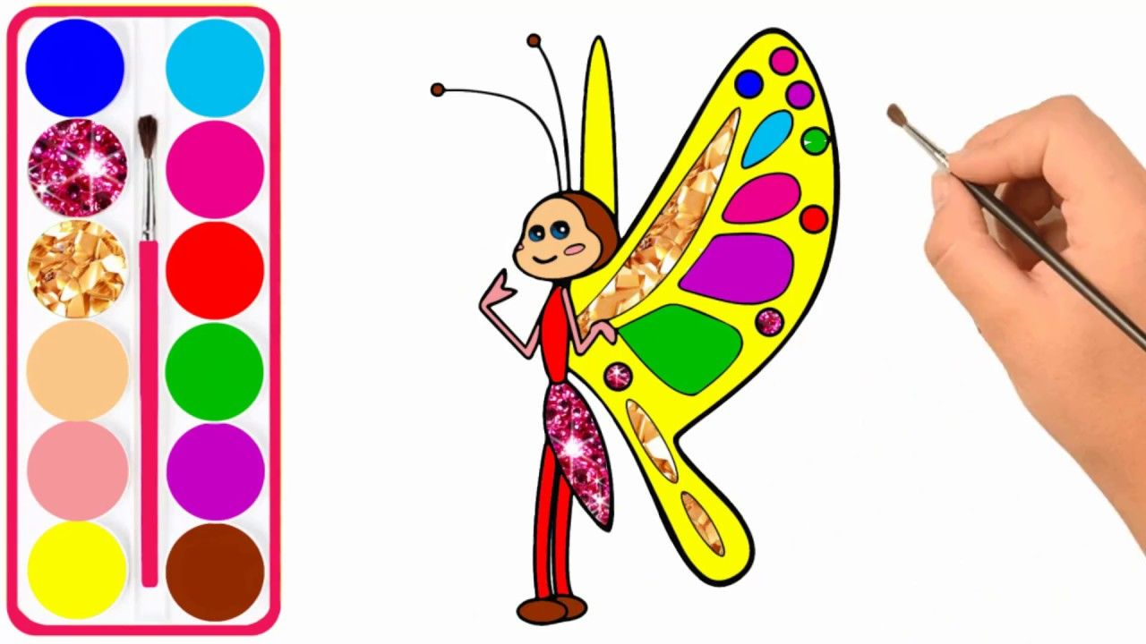Learn Colors For Kids With Cute Cartoon Bee Drawing And Coloring Car Bee Drawing Cartoon Bee Coloring For Kids