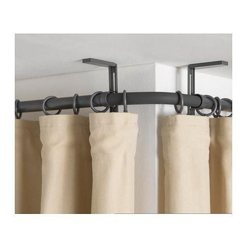 hugad conector esquina barra cortina gris plata cortinas grises esquina y ikea. Black Bedroom Furniture Sets. Home Design Ideas