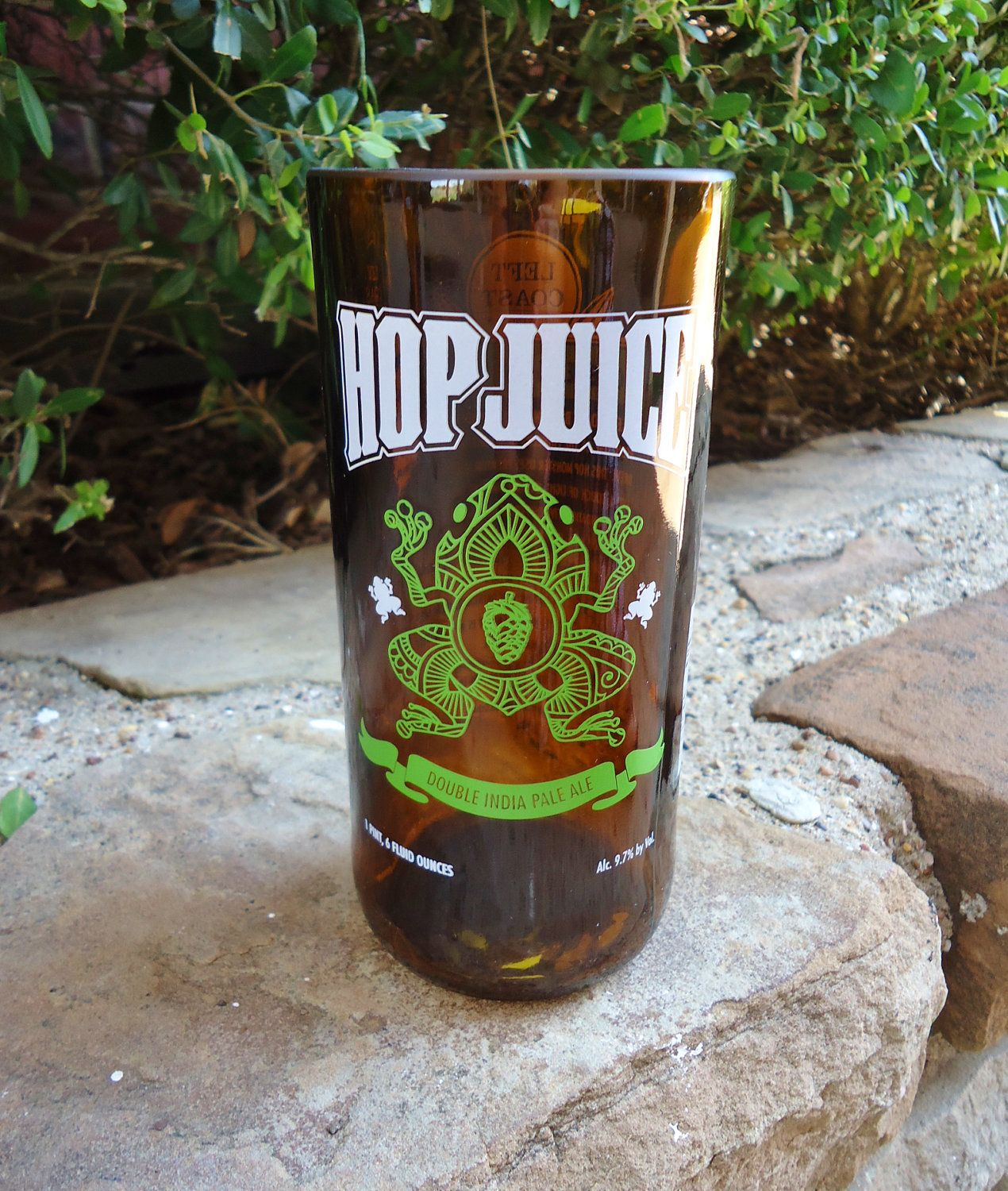 Recycled Beer Bottle Glass from a Left Coast Brewing Co Hop Juice Bottle 16 oz