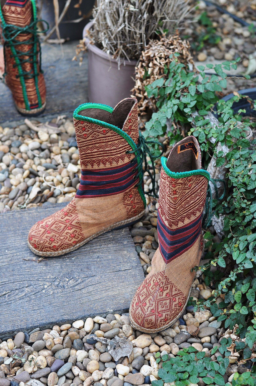 732c3af280aa2 Womens Mid Calf boots, The Dawn Till Dusk in Naga Tribal Handwoven ...
