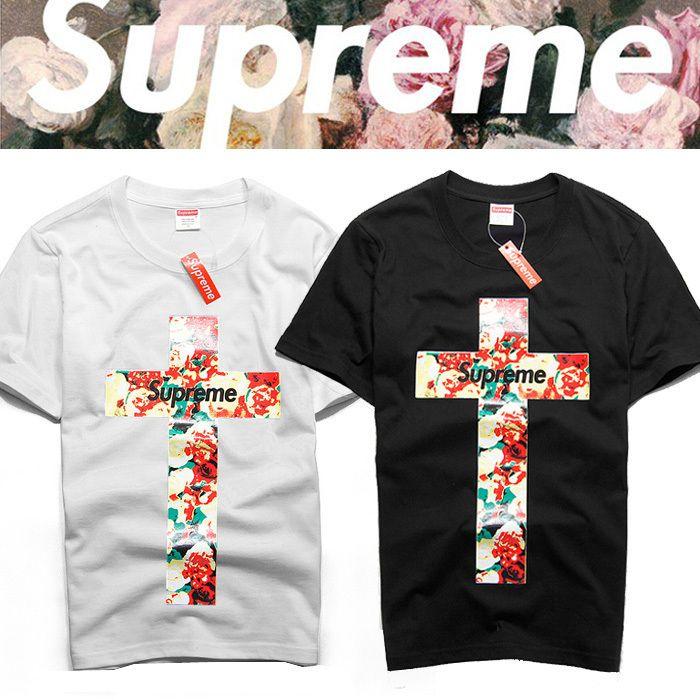 7bb0c42799a8 Summer cool Euramerican lovers flower The cross printing T shirt USA Brand  SUPREME Men slim fit Short Sleeve tee Streetwear tops US $11.19