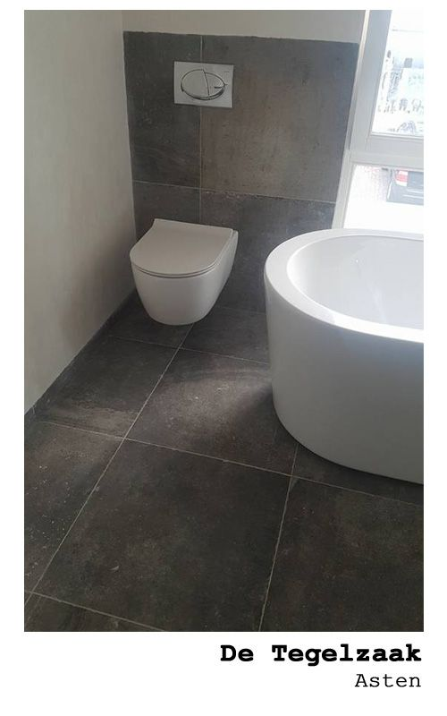 Stoere toilet 60x60 antraciet met een vleugje bruin getrommelde ...