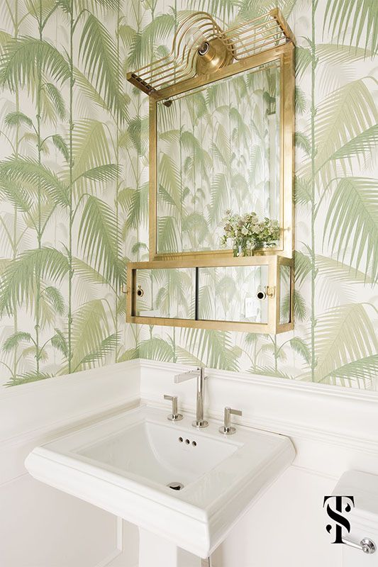 Lincoln Park Modern Powder room wallpaper, Jungle