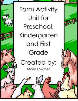 Preschool, Kindergarten and 1st grade Farm Activity Unit